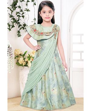 Fiona Sleeveless Flower Design Long Dupatta Gown  - Green
