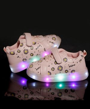 PASSION PETALS Flowers Printed LED Shoes - Pink