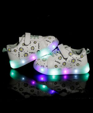 PASSION PETALS Flowers Printed LED Shoes - Grey