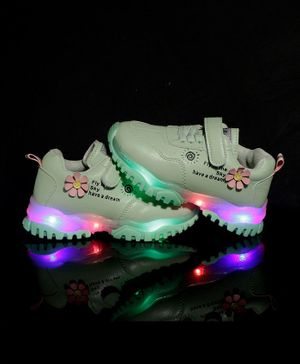 PASSION PETALS Flower Detailing LED Shoes - Light Green