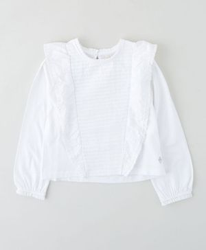 Angel & Rocket Full Sleeves Frilled Top - White