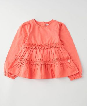 Angel & Rocket Full Sleeves Solid Smocking Top - Coral Pink