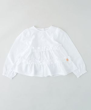 Angel & Rocket Full Sleeves Smocking Top - White