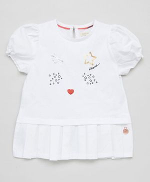 Angel & Rocket Short Sleeves Sequin Star Detailing Top - White