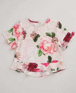 Angel & Rocket Half Sleeves Rose Print Top - Pink