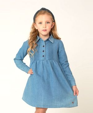 Cherry Crumble by Nitt Hyman Full Sleeves Chest Pleated Dress - Blue