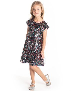 Cherry Crumble by Nitt Hyman Short Sleeves Sequined Bling Dress - Multi Colour