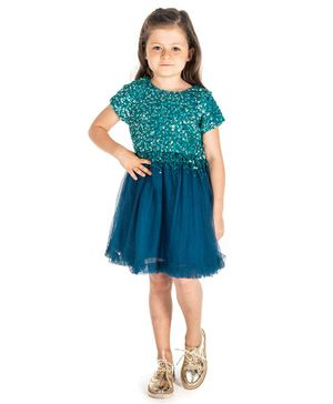 Cherry Crumble by Nitt Hyman Short Sleeves Sequined Dress - Green