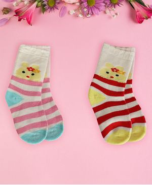 Coco Candy Pack Of 2 Pair Of Striped Socks - Pink & Red