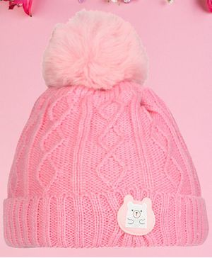 Coco Candy Pom Pom Woolen Cap - Light Pink