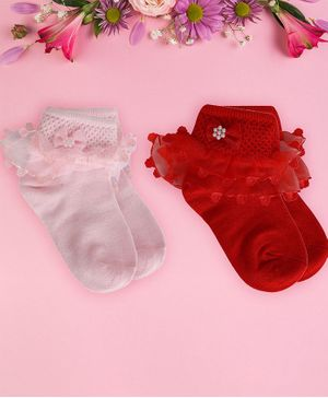 Coco Candy Pack Of 2 Pair Of Solid Colour Frill Socks - Red & Pink