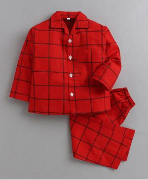 IndiUrbane Full Sleeves Checked Night Suit - Red