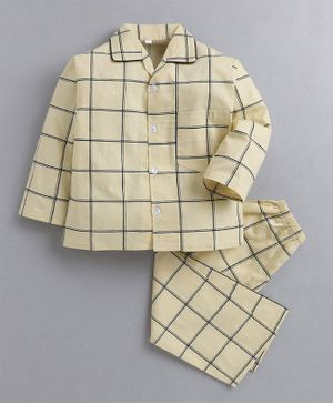 IndiUrbane Full Sleeves Checked Night Suit - Light Yellow