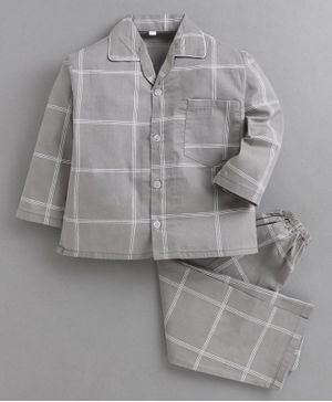 IndiUrbane Full Sleeves Checked Night Suit- Grey