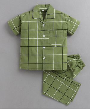 IndiUrbane Checked Half Sleeves Night Suit - Green