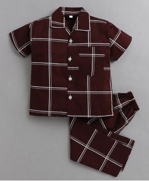 IndiUrbane Checked Half Sleeves Night Suit - Wine