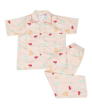 IndiUrbane Half Sleeve Fox Print Kids Cotton Night Suit - Light Pink