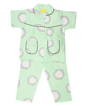 IndiUrbane Abstract Print Half Sleeve Cotton Night Suit - Mint Green