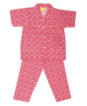 IndiUrbane Daisy Flower Print Half Sleeve Cotton Set Night Suit - Red