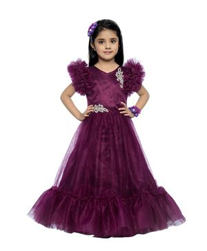 PinkChick Ruffle Cap Sleeves Embellished Gown - Purple