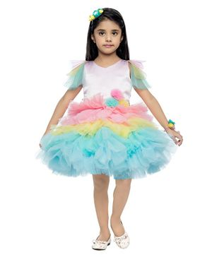 PinkChick Cap Sleeves Tutu Style Fit & Flare Dress - Multi Color