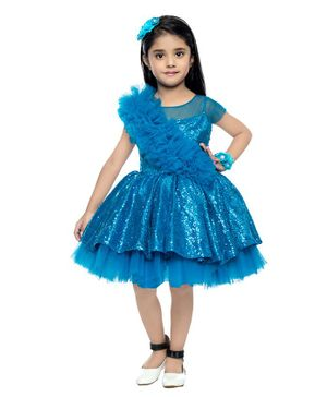 PinkChick Short Sleeves Sequined & Tulle Detailed Dress - Blue