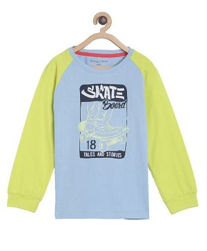 Tales & Stories Full Sleeves Skate Board Print Tee - Blue