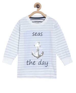Tales & Stories Full Sleeves Striped & Sequined Tee - White