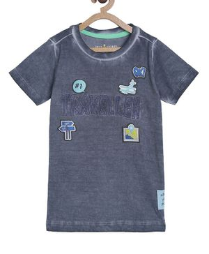 Tales & Stories Short Sleeves Patch Work Tee - Grey