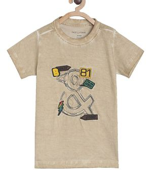 Tales & Stories Short Sleeves Patch Work Tee - Beige