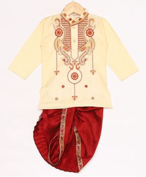 JBN Creation Full Sleeves Flower Design Kurta Dhoti Pant Set - Light Gold & Maroon