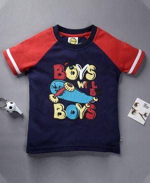 Pranava Organic Cotton Half Sleeves Boys Will Be Boys Print T-Shirt  - Navy Blue