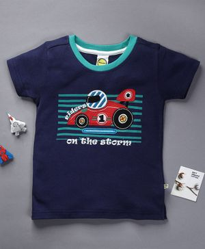 Pranava Organic Cotton Half Sleeves Racing Car Patch T-Shirt - Navy Blue