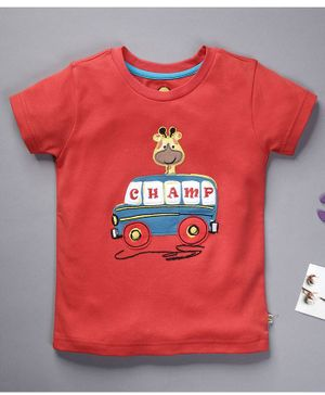 Pranava Organic Cotton Half Sleeves Giraffe & Vehicle Patch T-Shirt - Red