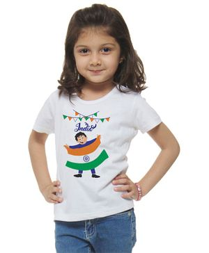 M'andy Half Sleeves Kid Holding Flag Print T-Shirt - White