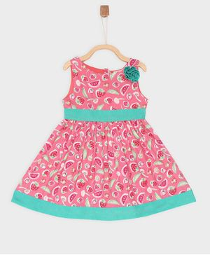 Rianna Sleeveless Fruit Print Dress - Pink