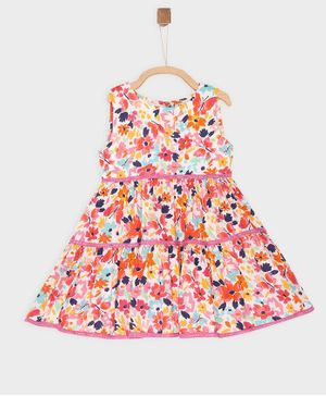 Rianna Sleeveless All Over Flower Print Dress - Multi Color
