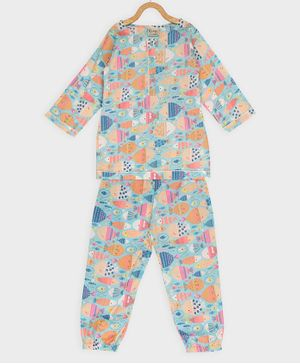 Rianna Fish Print Full Sleeves Night Suit - Blue