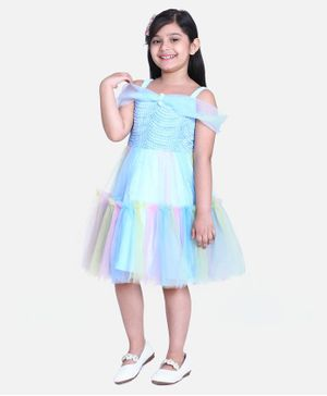 Whitehenz Clothing Half Sleeves Rainbow Color Detailing Dress - Light Blue