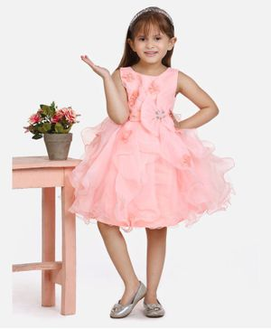 Whitehenz Clothing Sleeveless Flower Applique Bow Dress - Peach