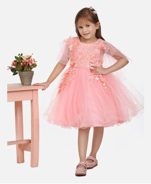 Whitehenz Clothing Three Fourth Sleeves Beaded Leaves Design Party Dress - Peach