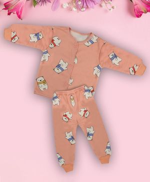 Coco Candy Full Sleeves Snow Bear Print T-Shirt With Pyjama  - Peach