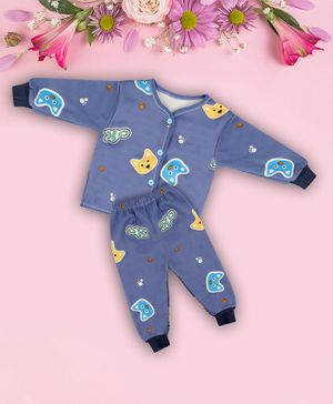 Coco Candy Full Sleeves Cat Print T-Shirt With Pyjama  - Blue
