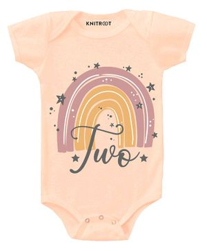 KNITROOT Short Sleeves Two Rainbow Print Onesie - Peach