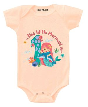 KNITROOT Mermaid Print Short Sleeves Onesie - Peach