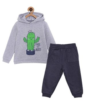 The Mom Store Full Sleeves Cactus Print Hoodie With Track Pants - Grey