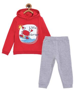 The Mom Store Little Surfer Print Full Sleeves Hoodie With Track Pants - Red