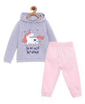 The Mom Store Happy Unicorn Print Full Sleeves Hoodie With Track Pants - Grey & Pink
