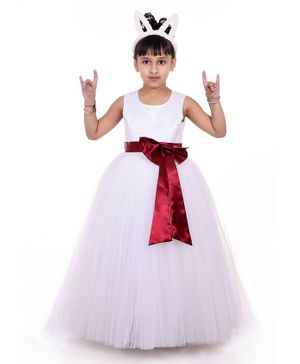 Indian Tutu Sleeveless Embroidery Fit & Flare Netted Gown  - White