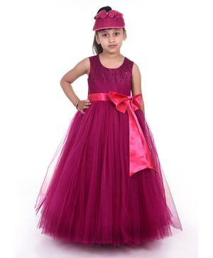 Indian Tutu Sleeveless Embroidery Fit & Flare Netted Gown  - Pink